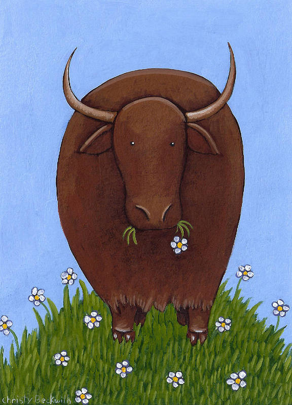 Yak Poster featuring the painting Whimsical Yak Painting by Christy Beckwith