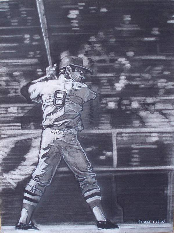Charcoal Poster featuring the drawing Yaz - Carl Yastrzemski by Sean Connolly