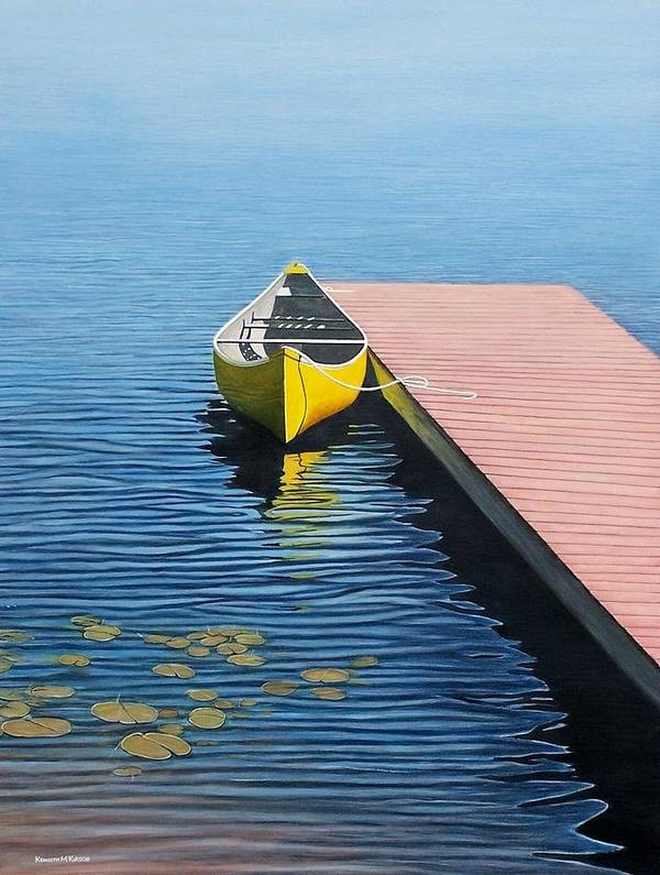 Landscape Paintings Poster featuring the painting Yellow Canoe by Kenneth M Kirsch