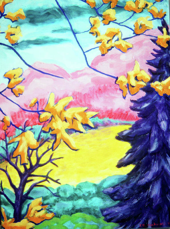 Landscape Poster featuring the painting Yellow Leaves On Pink Hills by Terrie Rockwell