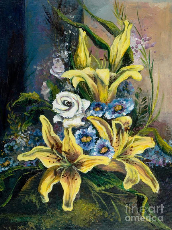 Originals Poster featuring the painting Yellow Lillies by Elisabeta Hermann