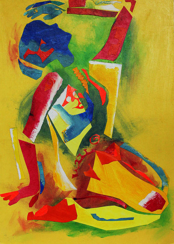 Abstract Expressionism Poster featuring the mixed media Yellow Nude by Diane Fine