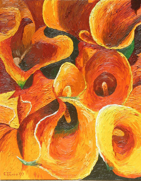 Flowers Poster featuring the painting Yellow-orange Calla Lilies by Chris Torre