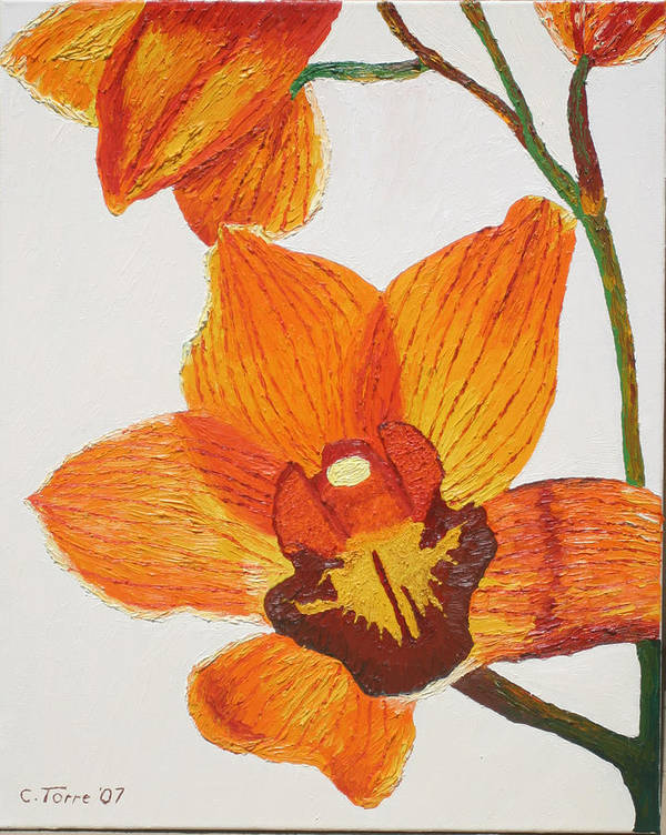 Cymbidiums Poster featuring the painting Yellow-orange Cymbidiums by Chris Torre