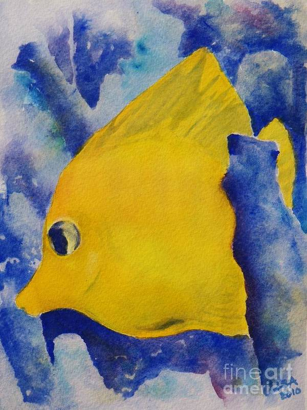 Tropical Fish Poster featuring the painting Yellow Tang by Lisa Pope