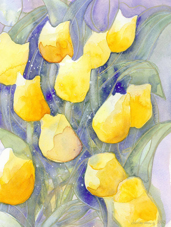 Yellow Tulips Poster featuring the painting Yellow Tulips 1 by Ingela Christina Rahm