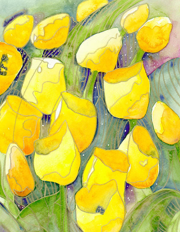 Yellow Tulips Poster featuring the painting Yellow Tulips 2 by Ingela Christina Rahm