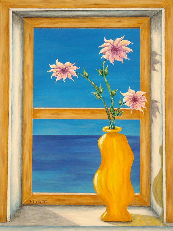 Pamela Allegretto Poster featuring the painting Yellow Vase With Sea View by Pamela Allegretto