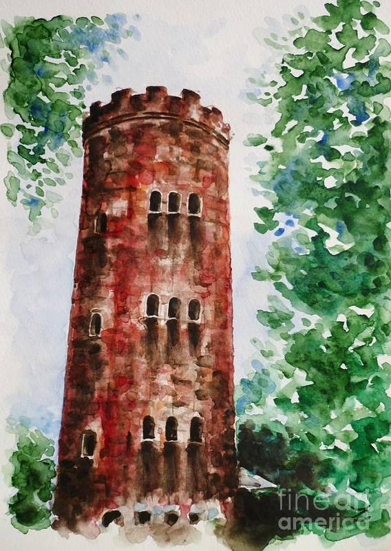 Yokahu Tower Poster featuring the painting Yokahu Tower by Zaira Dzhaubaeva