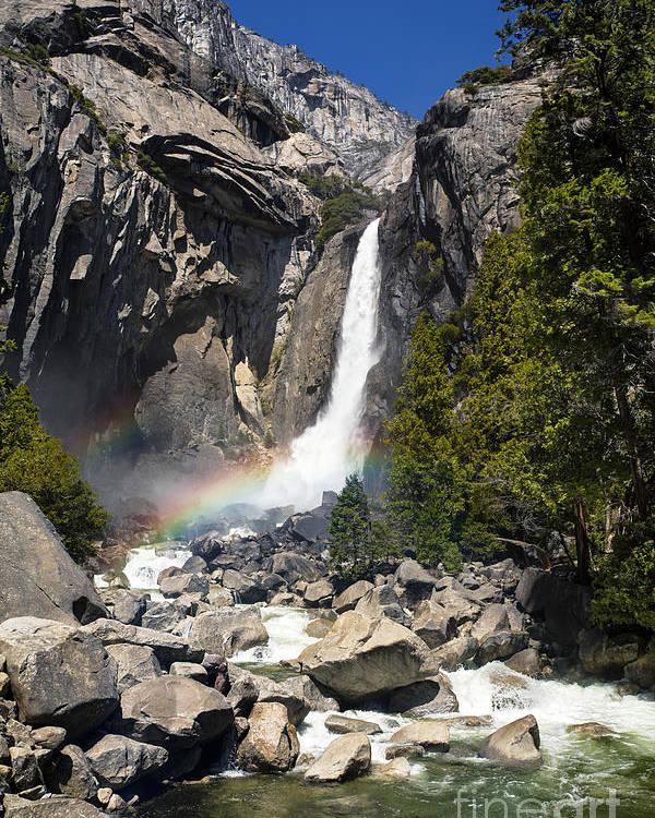 Yosemite Poster featuring the photograph Yosemite Falls Rainbow by Jane Rix