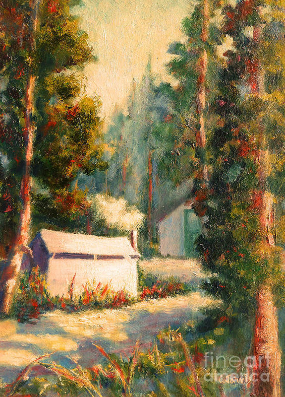 Yosemite Tent Cabins Poster featuring the painting Yosemite Tent Cabins by Carolyn Jarvis