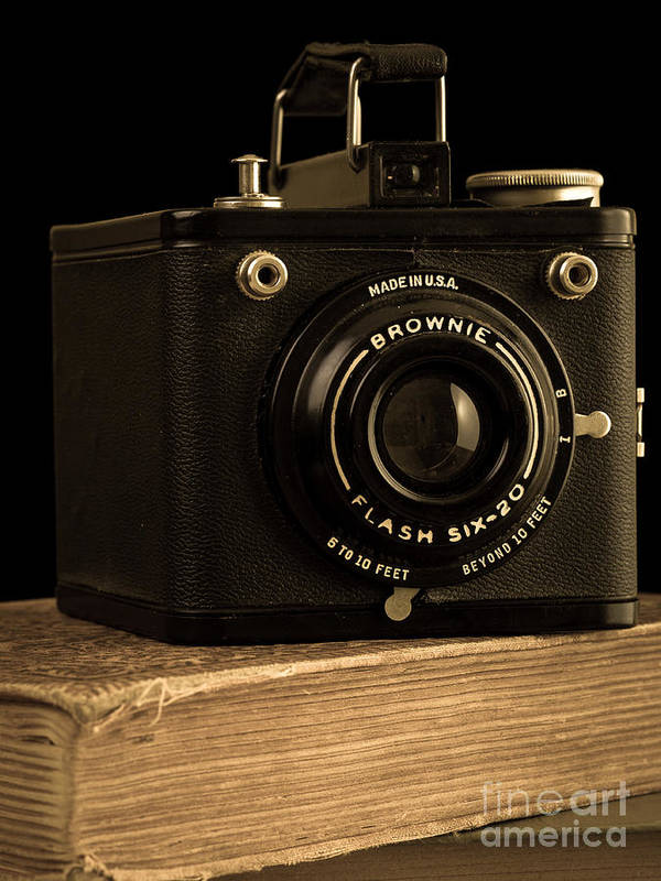 Brownie Poster featuring the photograph You Push The Button We Do The Rest Kodak Brownie Vintage Camera by Edward Fielding