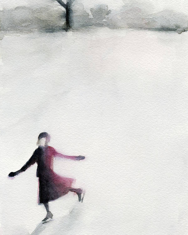 Grey Poster featuring the painting Young Woman Ice Skating Watercolor Painting by Beverly Brown Prints