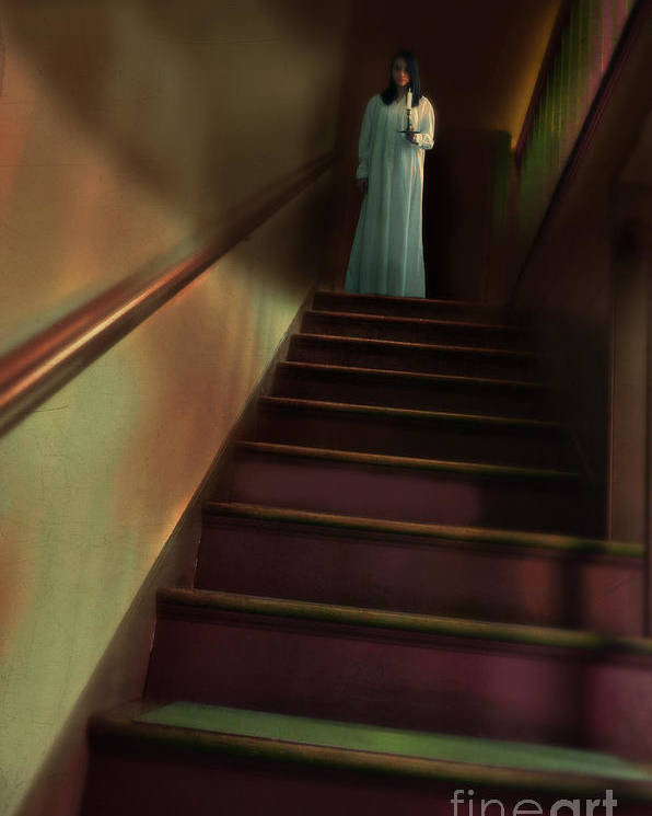 Woman Poster featuring the photograph Young Woman In Nightgown On Stairs by Jill Battaglia