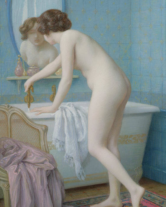 Mirror Poster featuring the painting Young Woman Preparing Her Bath by Jules Scalbert