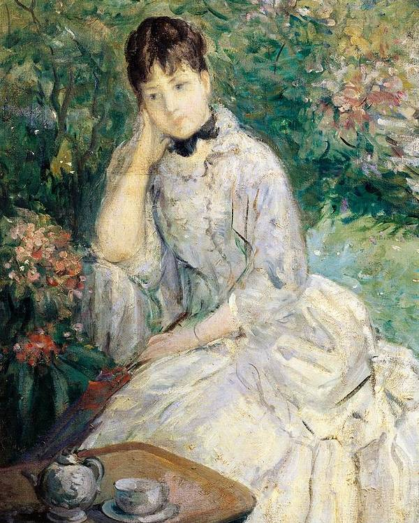 Art Poster featuring the painting Young Woman Seated On A Sofa by Berthe Morisot