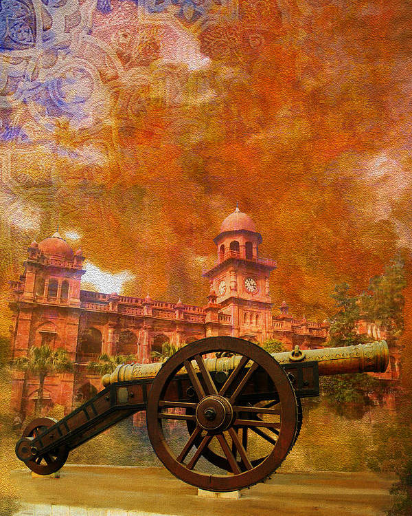 Pakistan Poster featuring the painting Zamzama Tope Or Kim's Gun by Catf