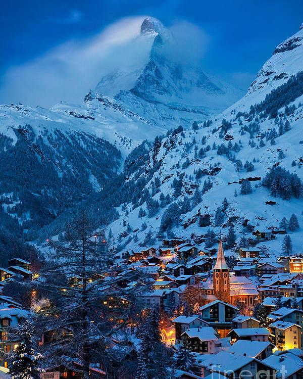 Dusk Poster featuring the photograph Zermatt - Winter's Night by Brian Jannsen