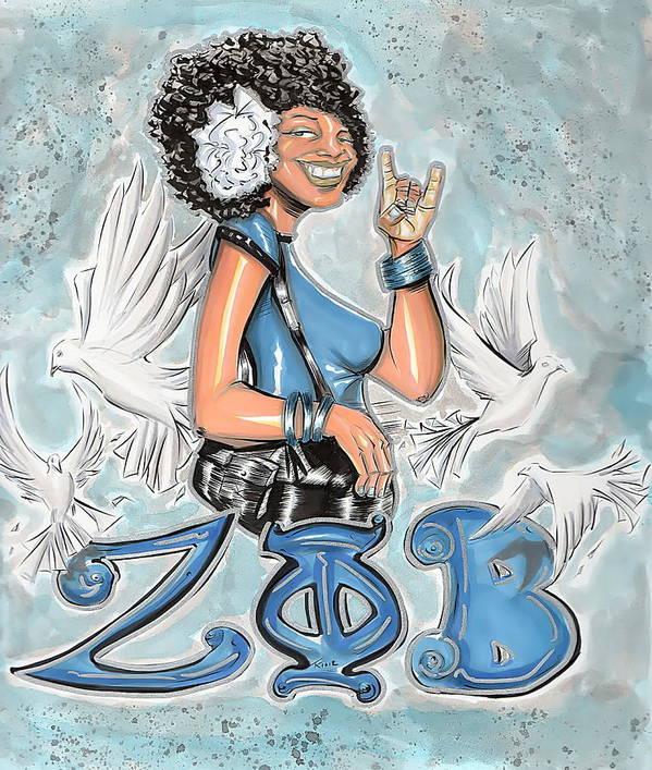 Zeta Poster featuring the drawing Zeta Phi Beta Sorority Inc by Tu-Kwon Thomas