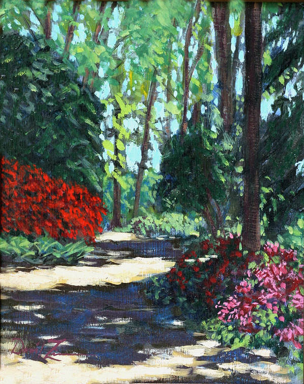 Flower Landscape Paintings Poster featuring the painting Zg Zag by David Zimmerman