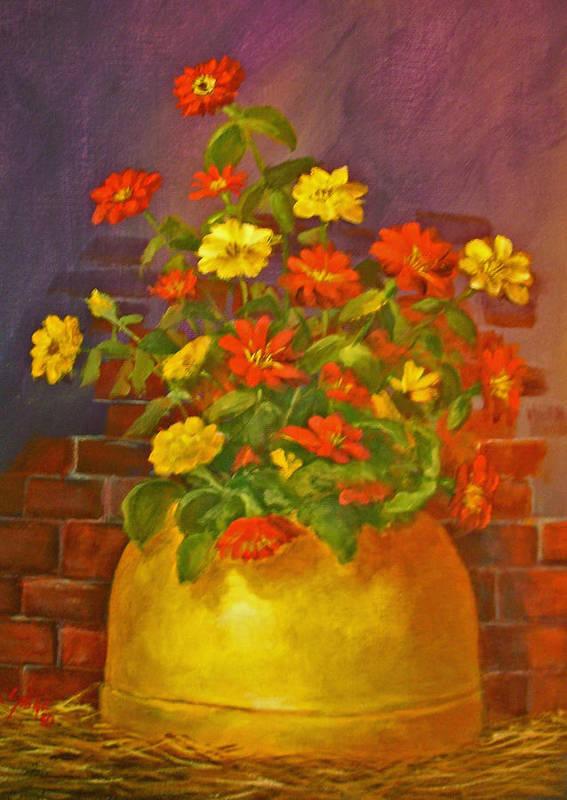 Zinnias Poster featuring the painting Zinnias by Carolyn Saine