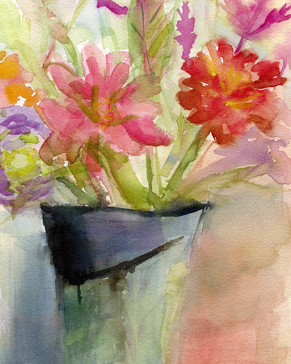 1e6be544f18 Floral Poster featuring the painting Zinnias In A Vase Watercolor Paintings  Of Flowers by Beverly Brown