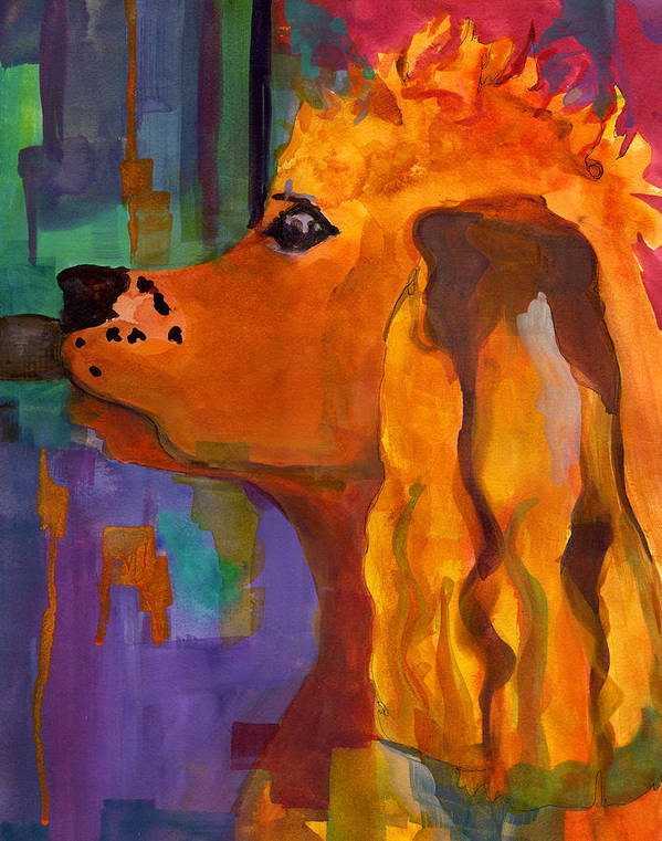 Dog Poster featuring the painting Zippy Dog Art by Blenda Studio