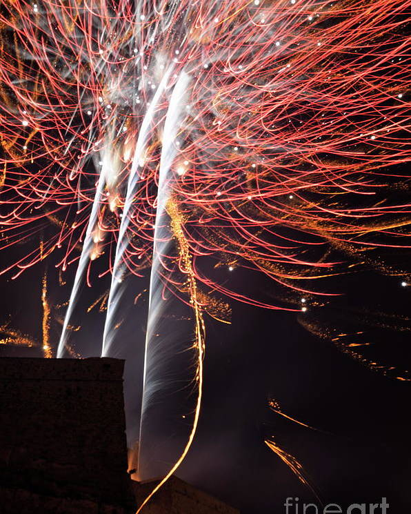 Vertical Poster featuring the photograph Bastille Day Fireworks by Sami Sarkis