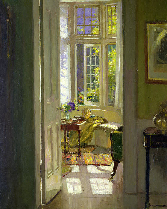Window; Door; Sunlight; Shadow Poster featuring the painting Interior Morning by Patrick Williams Adam