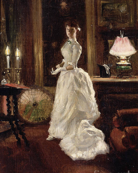 Interior Poster featuring the painting Interior Scene With A Lady In A White Evening Dress by Paul Fischer
