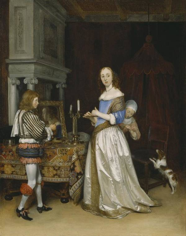 Lady Poster featuring the painting Lady At Her Toilette by Gerard ter Borch