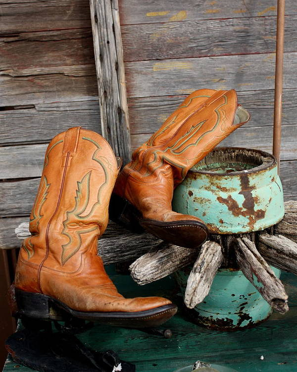 Boots Poster featuring the photograph Old Cowboy Boots by Terry Fleckney