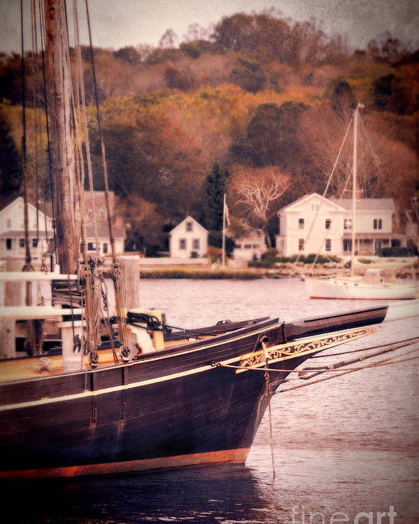 Coast Poster featuring the photograph Old Ship Docked On The River by Jill Battaglia