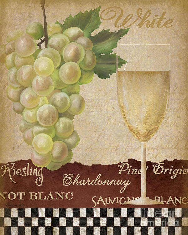 Wine Poster featuring the painting White Wine Collage by Grace Pullen
