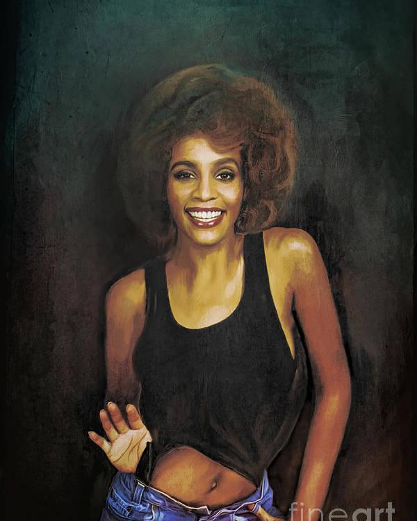 Whitney Poster featuring the painting Whitney Elizabeth Houston by Andrzej Szczerski