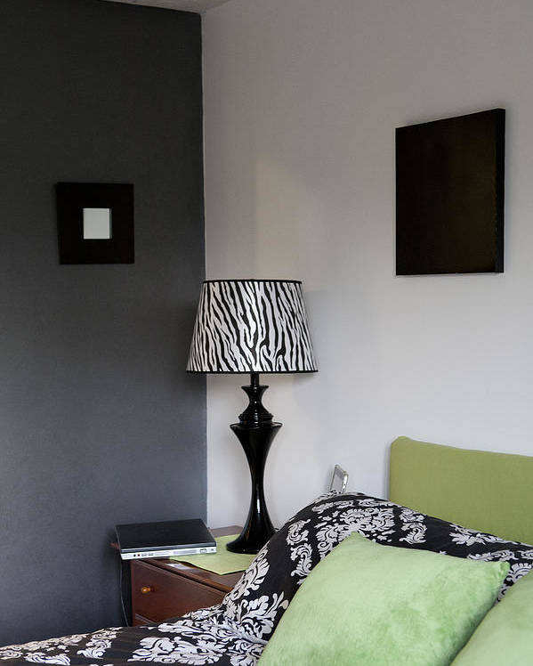 No People Poster featuring the photograph A Bedroom In A House. A Double Bed by Christian Scully