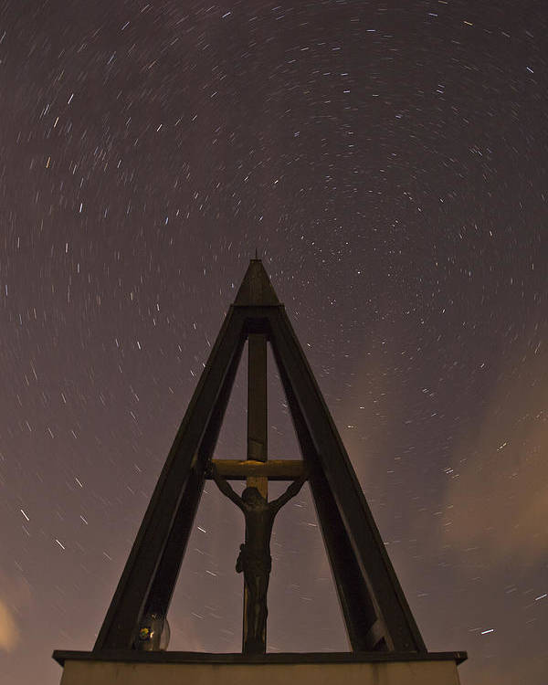 Startrails Poster featuring the photograph Against The Stars by Ian Middleton