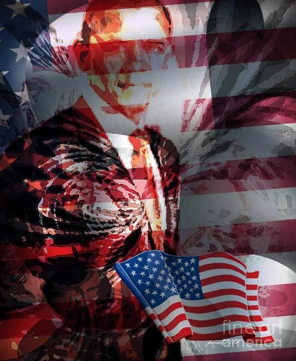 Fania Simon Poster featuring the mixed media Barack by Fania Simon