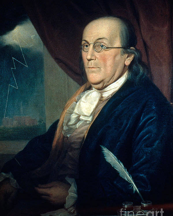 History Poster featuring the photograph Benjamin Franklin, American Polymath by Photo Researchers