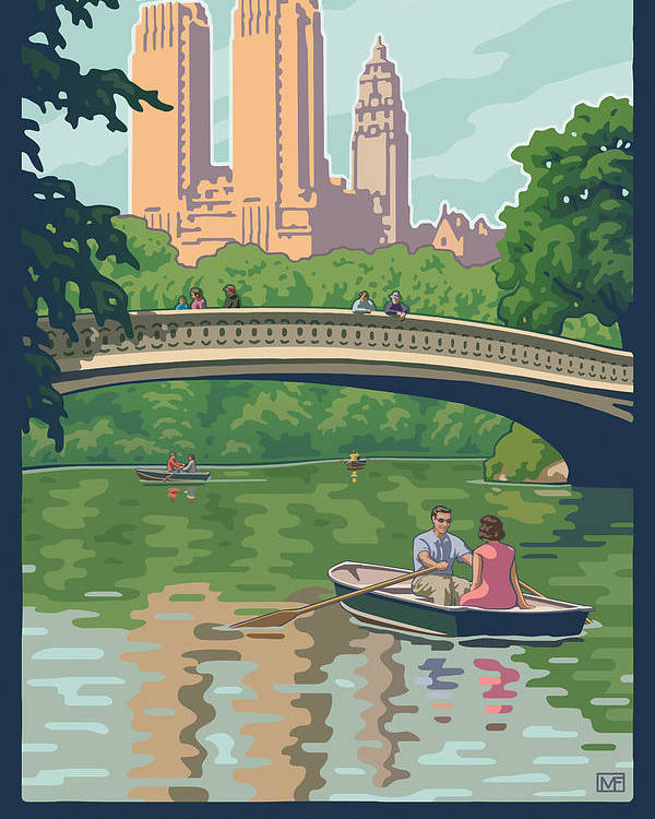 Bow Bridge Poster featuring the digital art Bow Bridge In Central Park by Mitch Frey