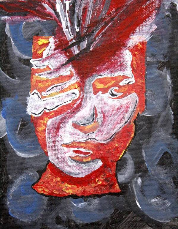 Face Poster featuring the painting Braintease by April Harker