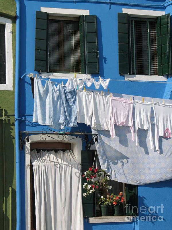 Linge Sechant Poster featuring the photograph Burano. Venice by Bernard Jaubert