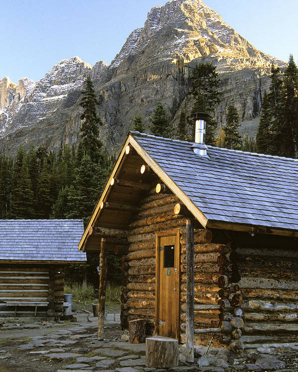 Cabins Poster featuring the photograph Cabin In Yoho National Park, Lake by Ron Watts