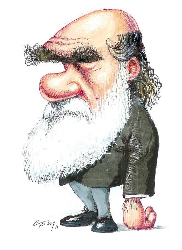 1800s Poster featuring the photograph Charles Darwin, Caricature by Gary Brown