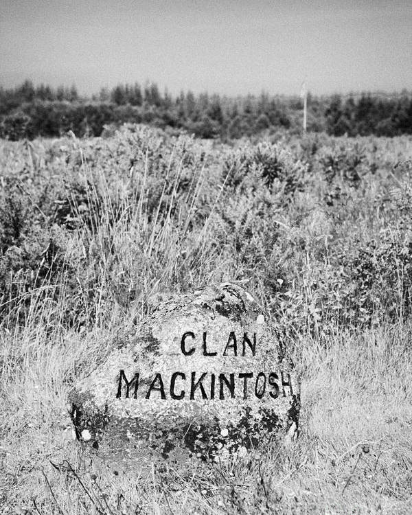 Memorial Poster featuring the photograph clan mackintosh memorial stone on Culloden moor battlefield site highlands scotland by Joe Fox
