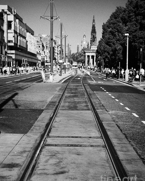 Princes Poster featuring the photograph Completed Tram Rails On Princes Street Edinburgh Scotland Uk United Kingdom by Joe Fox