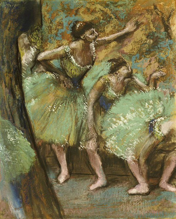 Pastel Poster featuring the pastel Dancers by Edgar Degas