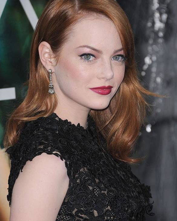 Emma Stone Poster featuring the photograph Emma Stone Wearing Fred Leighton by Everett