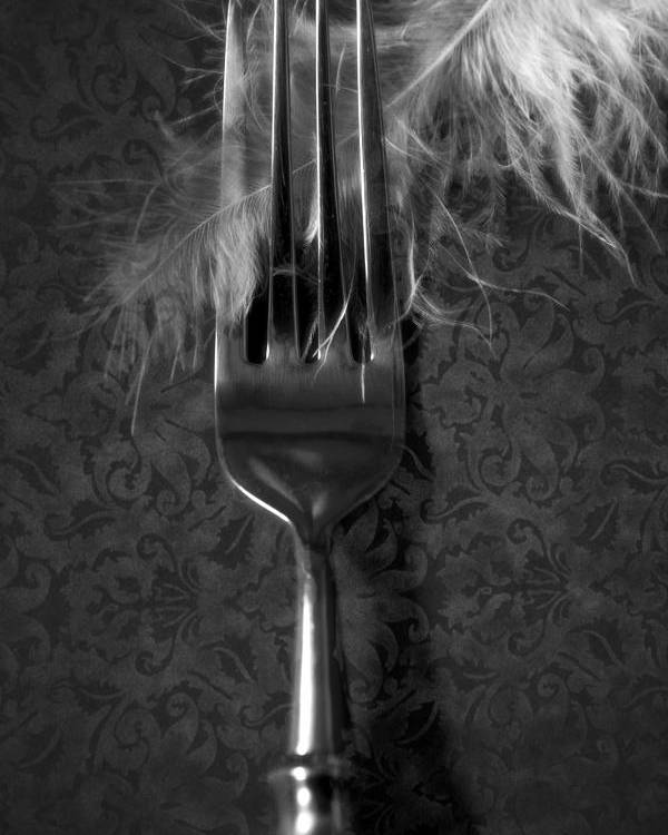 Silver Poster featuring the photograph Fork And Feather by Joana Kruse