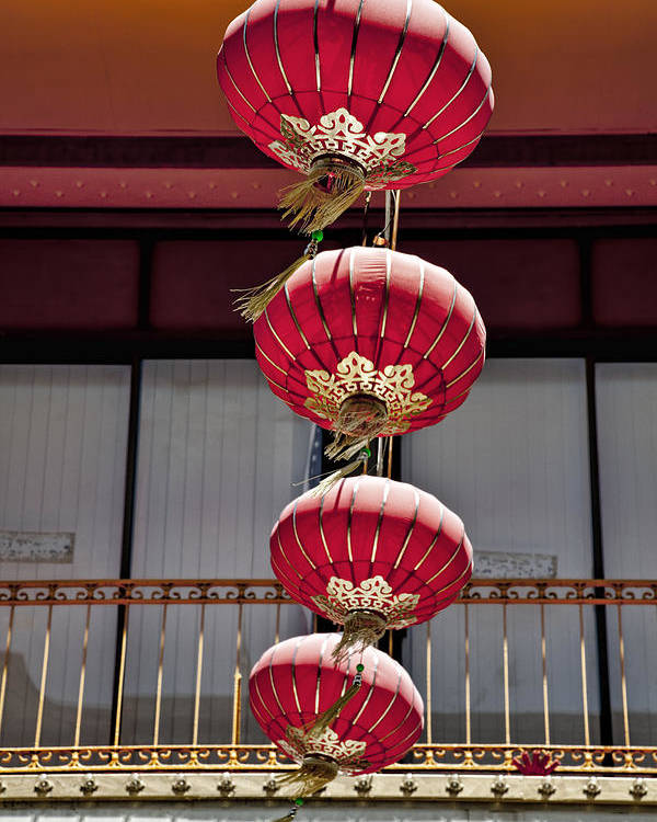 Chinese Lanterns Poster featuring the photograph Four Lanterns by Kelley King